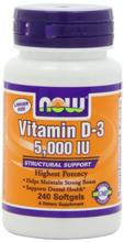 NOW Foods vitamine D3 5000 UI, 240