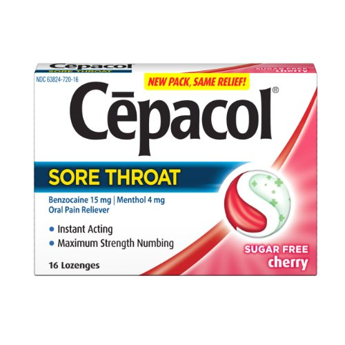 Cepacol Lozenges Max Sugar Free Cherry, 16 Count (Pack of 3)