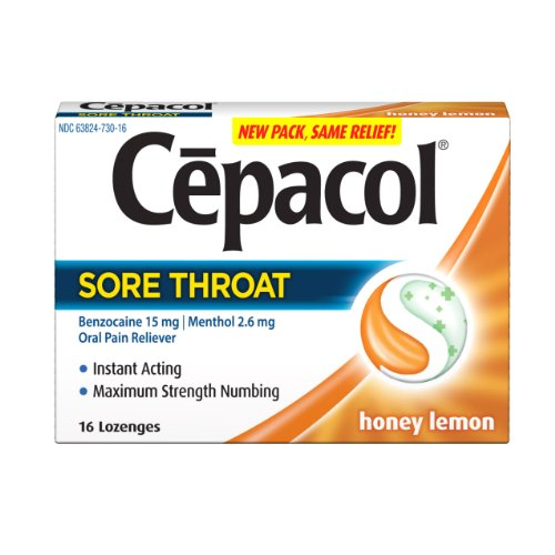 Cepacol Sore Throat Max Numbing Honey Lemon, 16 Count (Pack of 3)