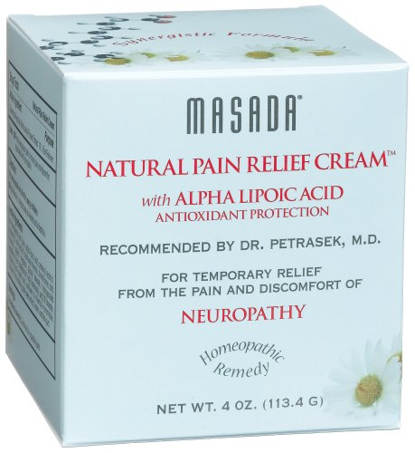 Masada Natural Pain Relief Cream with Alpha Lipoic Acid, Antioxidant Protection, 4-Ounce Jars