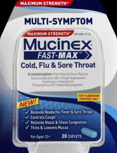 Mucinex Fast-Max Adult Caplets for Cold, Flu and Sore Throat, 20 Count