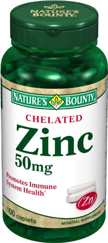 Nature's Bounty Chelated Zinc (Zinc Gluconate) 50mg, 100 Caplets (Pack of 4)