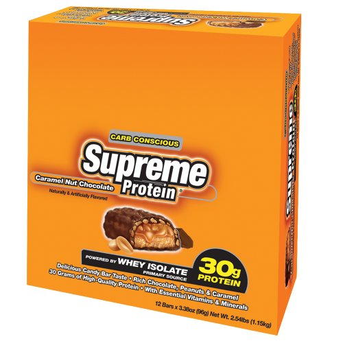 Supreme Protein Bar, Caramel Nut Chocolate, 12 - 3.38 oz Bars